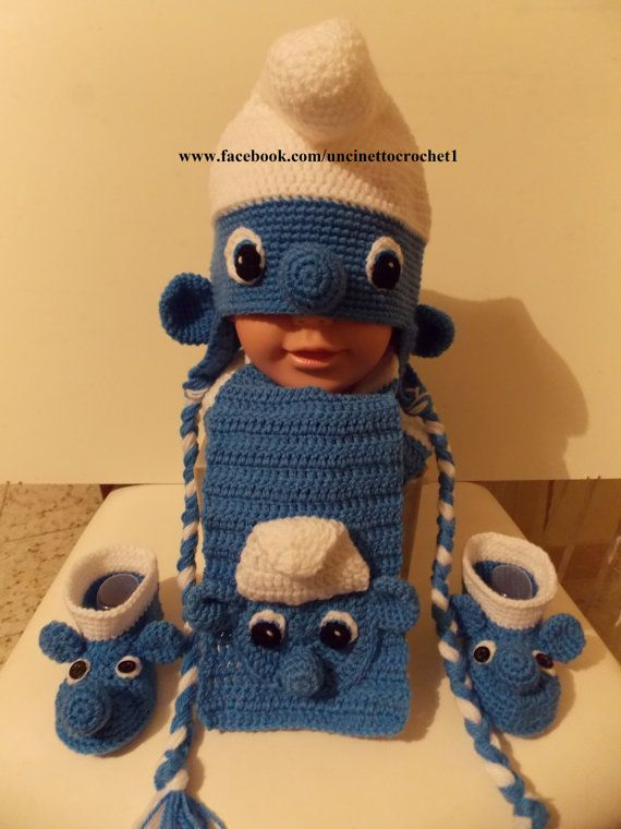 Baby crochet hat, scarf and booties-disney-smurfs-newborn knitting gift-baby boy-baby girl