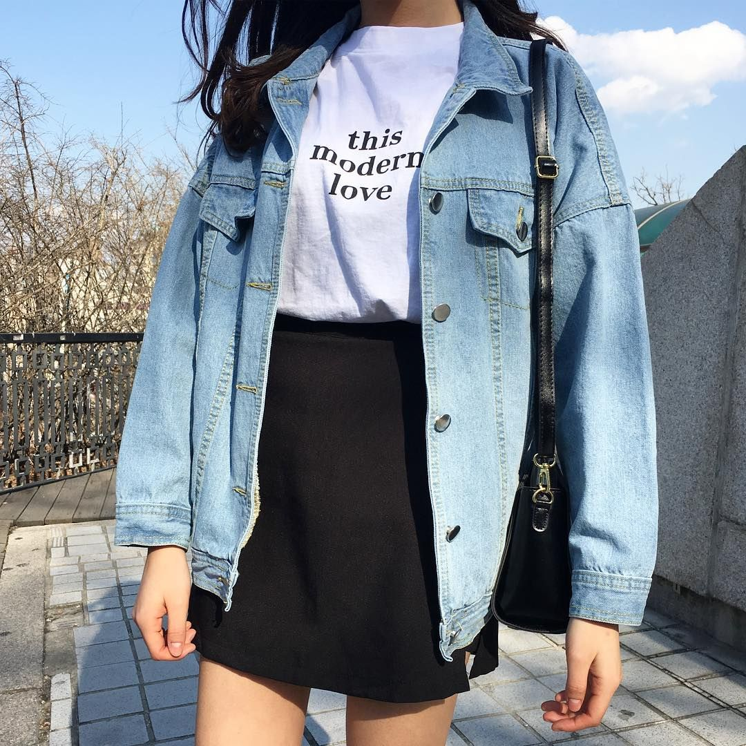 4 27 17 Hannah Talarico 90 s grunge inspired look with a oversized denim  jacket, and a high waisted skirt with a graphic tee. 698ed6e4db