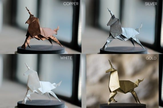 Photo of Sculpture Origami Unicorn. Blade Runner. Paper anniversary gift for her. Taxidermy. Gold Ornament. F