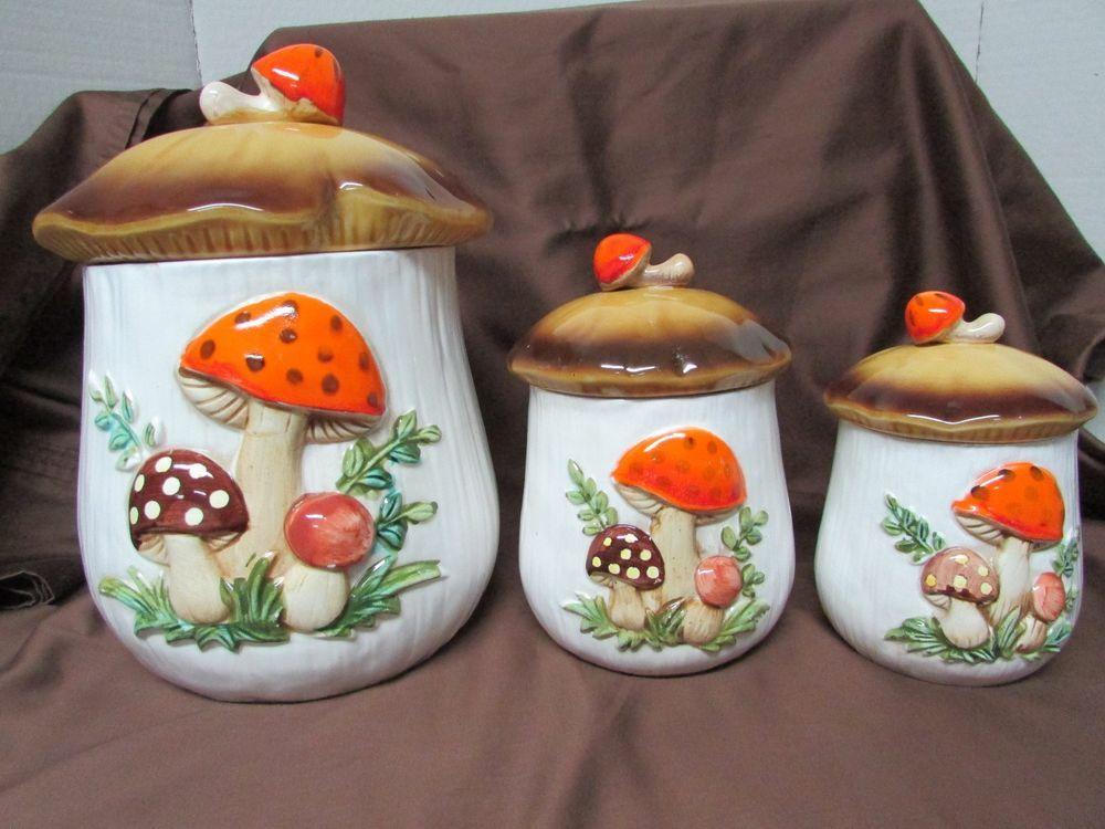 Vintage Merry Mushroom Cookie Jar Ceramic Canister Set Of 3 Ebay