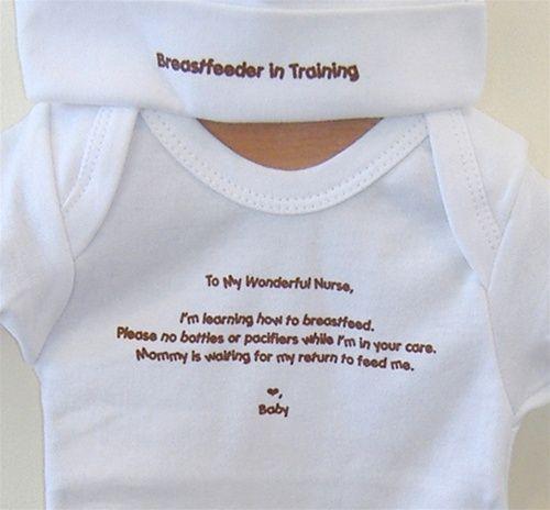 "Great idea 4 Breastfeeding Mommies! Newborn ""Breastfeeder in Training"" Shirt & Beanie Set"