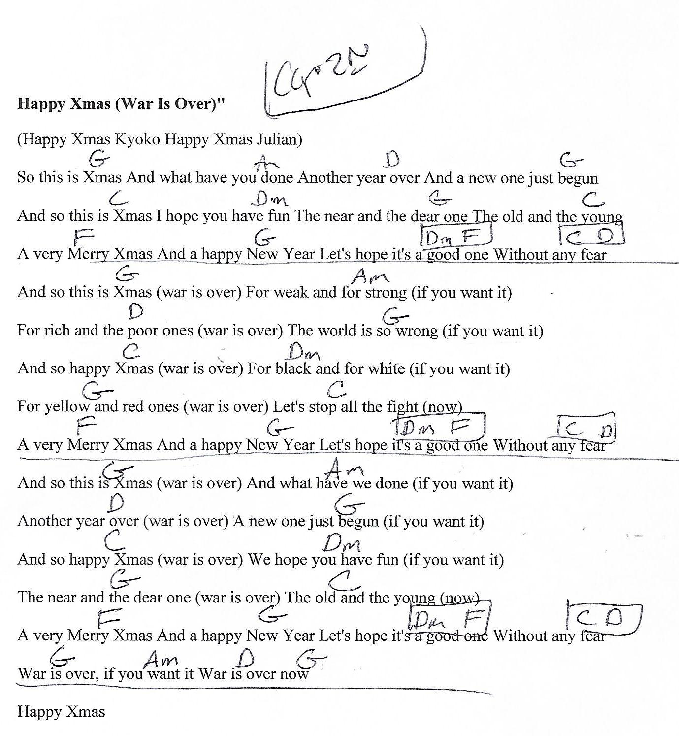 Happy XMas (John Lennon) Capo 2nd Guitar Chord Chart