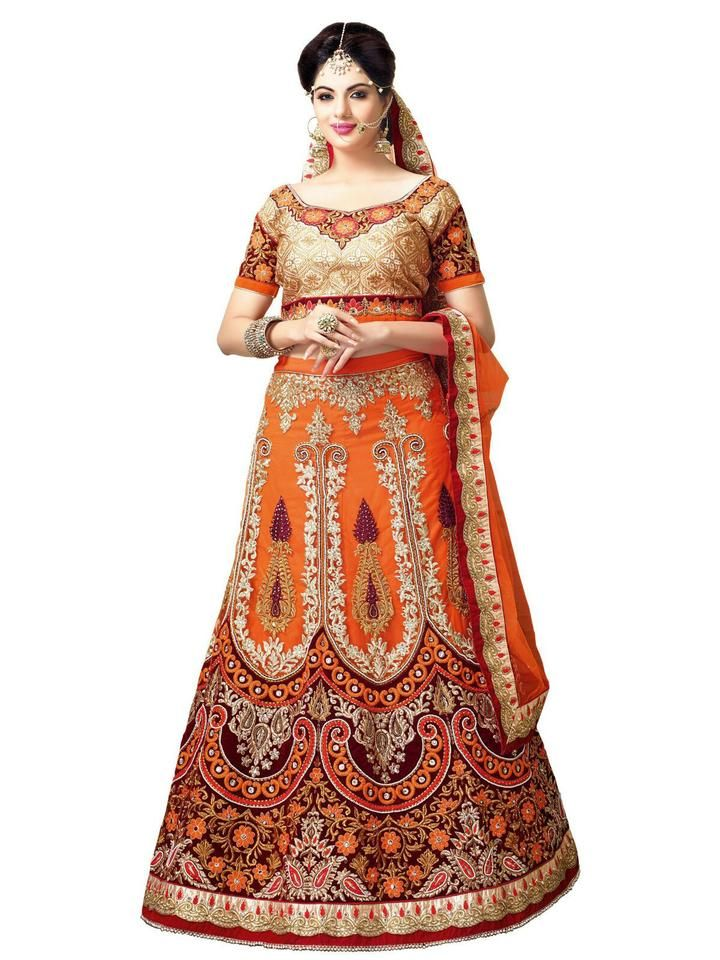 Women\u0027s Deep Orange Color Pretty A Line Lehenga Style With Resham