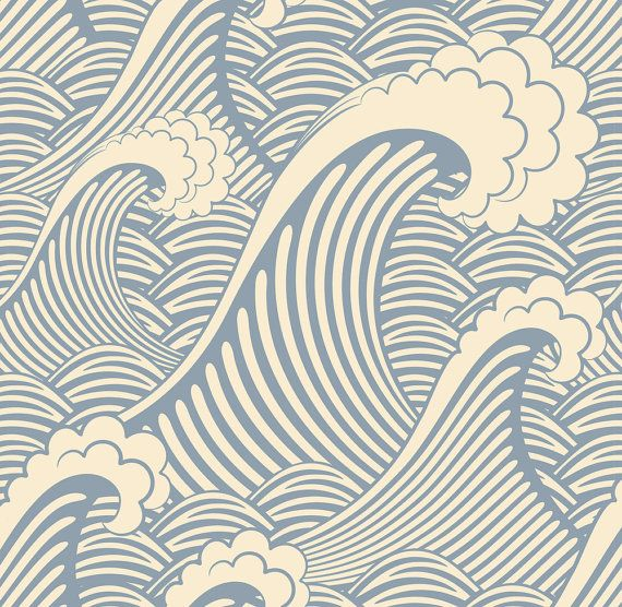 Waves of Chic Removable Wallpaper  8 Feet by WallsNeedLove on Etsy