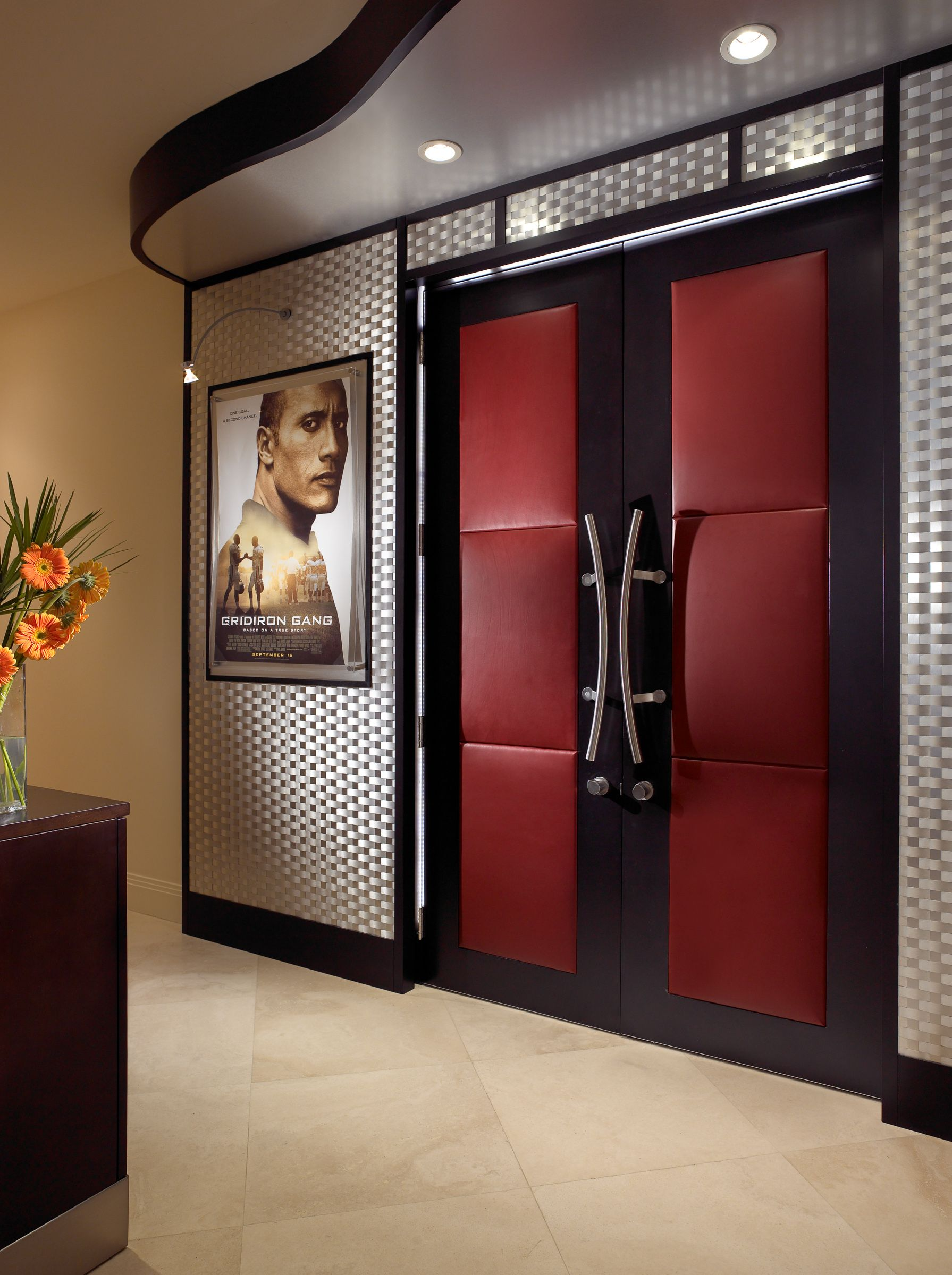 Padded Double Doors Surrounded By A