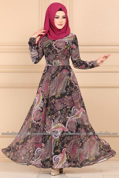Modaselvim Elbise Desenli Sifon Tesettur Elbise 204al357 Siyah Musluman Modasi Sifon Elbise Uzun Mezuniyet Balosu Elbiseleri