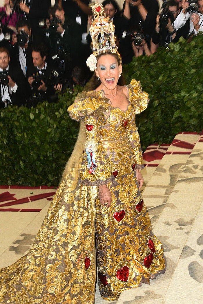 Sarah Jessica Parker Wears Printed Metallic Dress and Gold