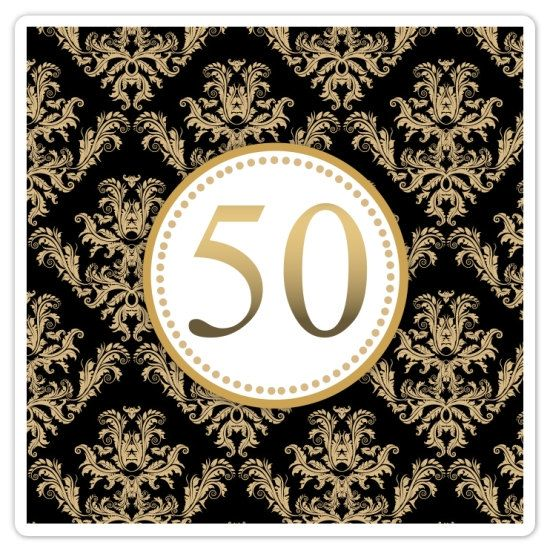 Captivating 50th Wedding Anniversary Stickers, Square Damask Anniversary Stickers, 2  Inch SQUARE   Gold And