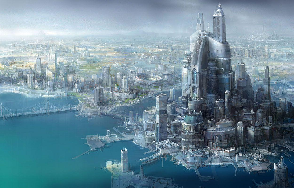 Futuristic City Building Futuristic City Bridge Buildings City Dock Fantasy Future Citta Fantasy Metropolis Monumenti