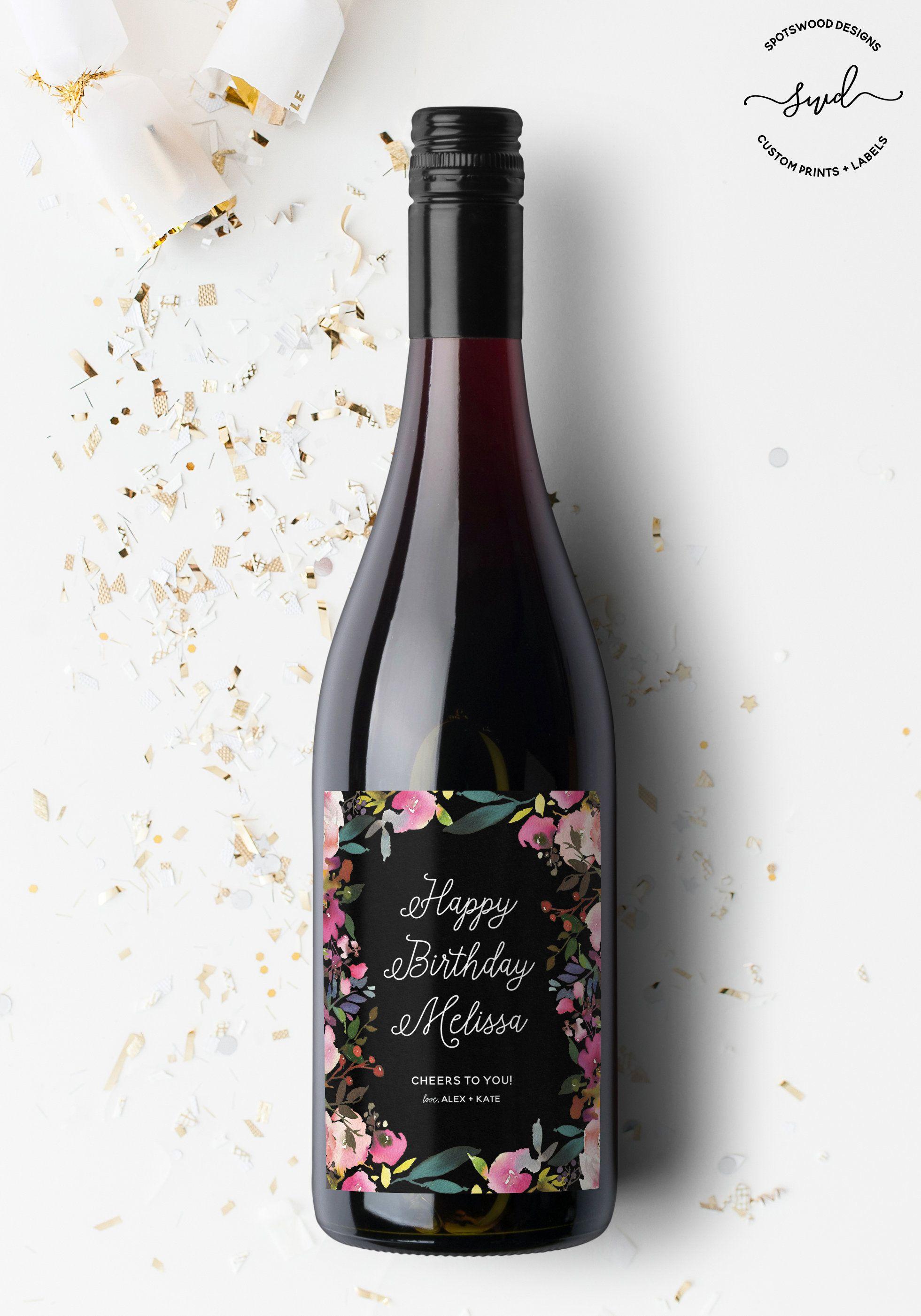 Happy Birthday Custom Wine Label Birthday Gift Birthday