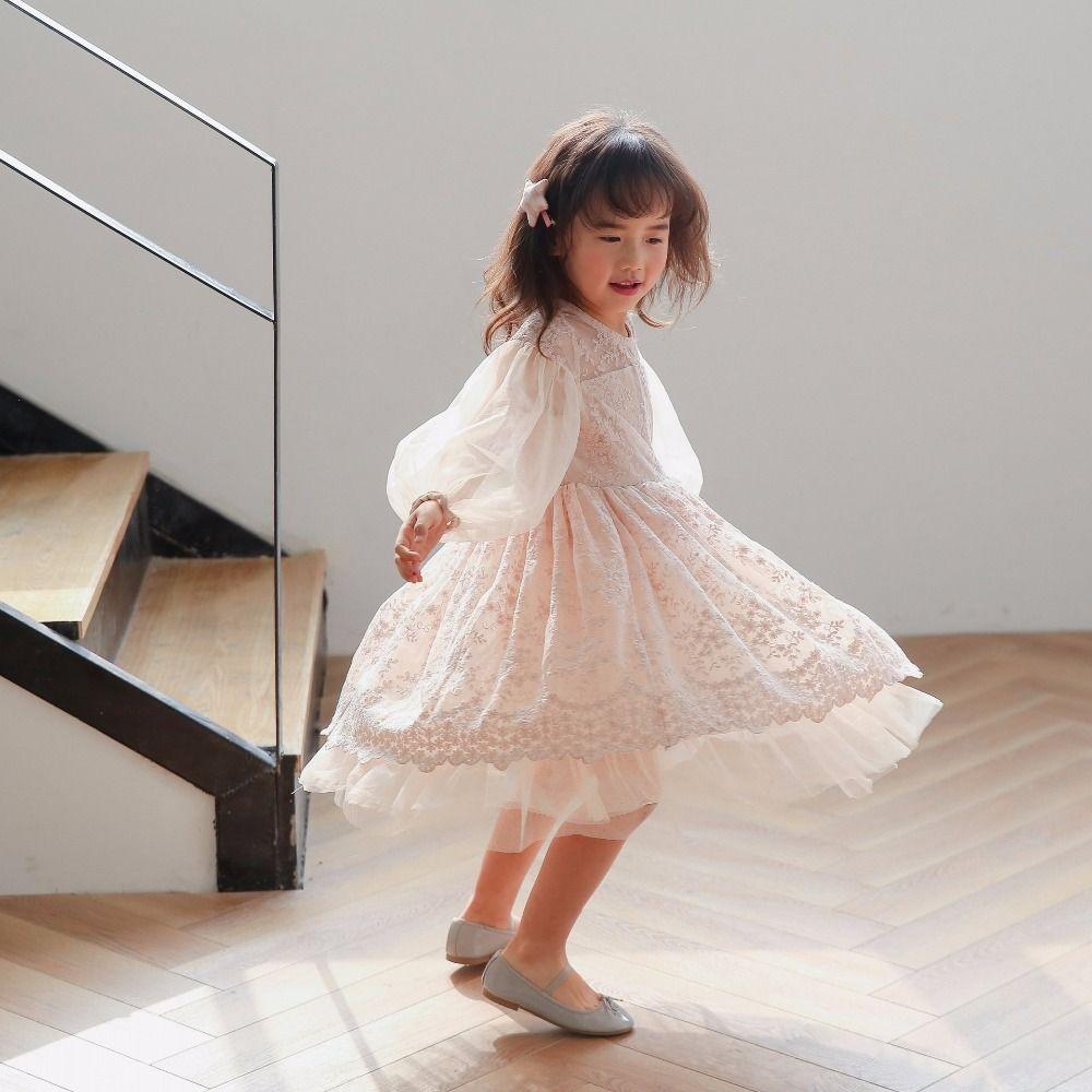 Baby girl dress summer spring lace lantern sleeve princess dress for