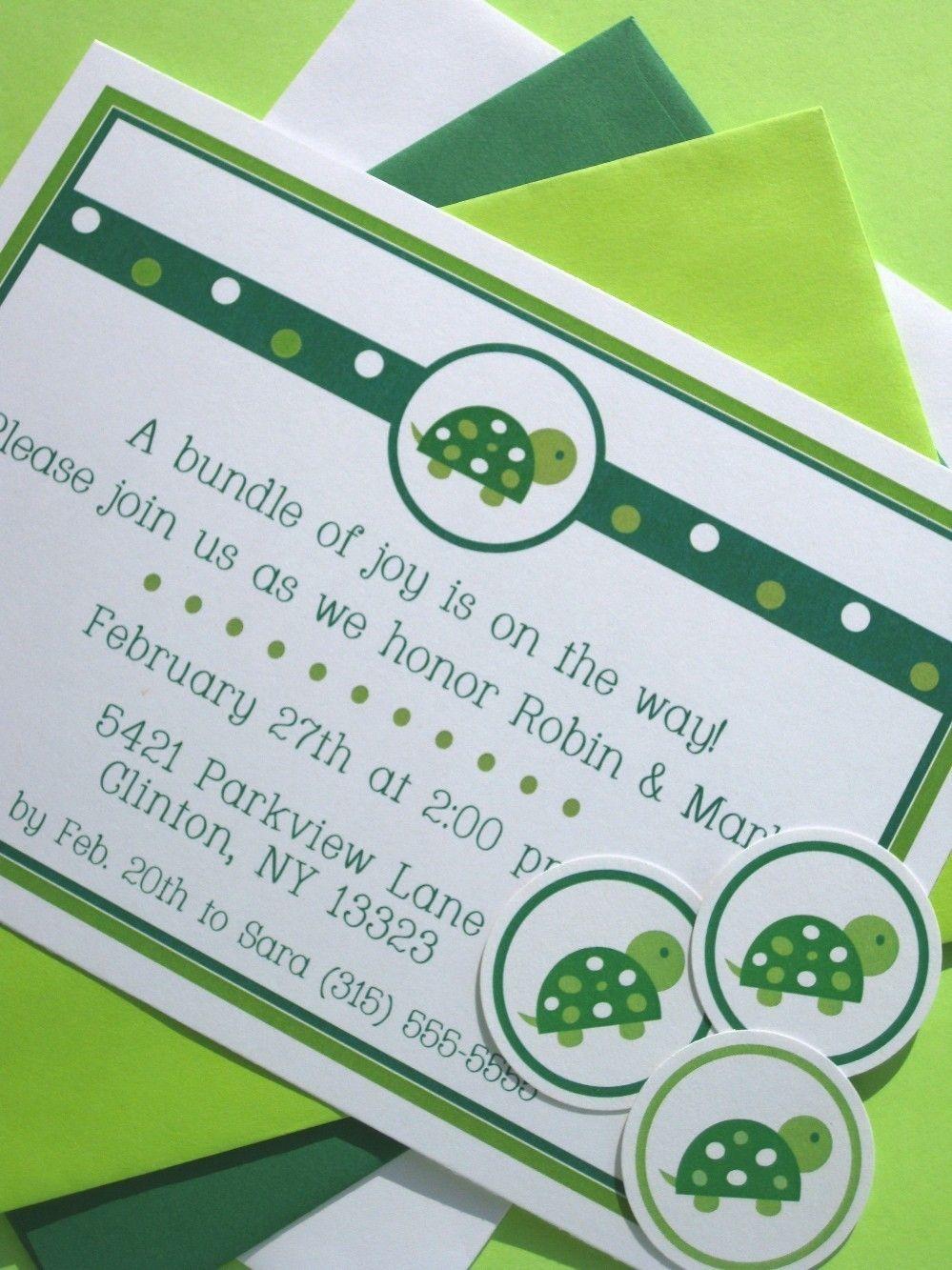 Turtle Baby Shower Invites | Turtle Baby Shower Ideas | Pinterest ...
