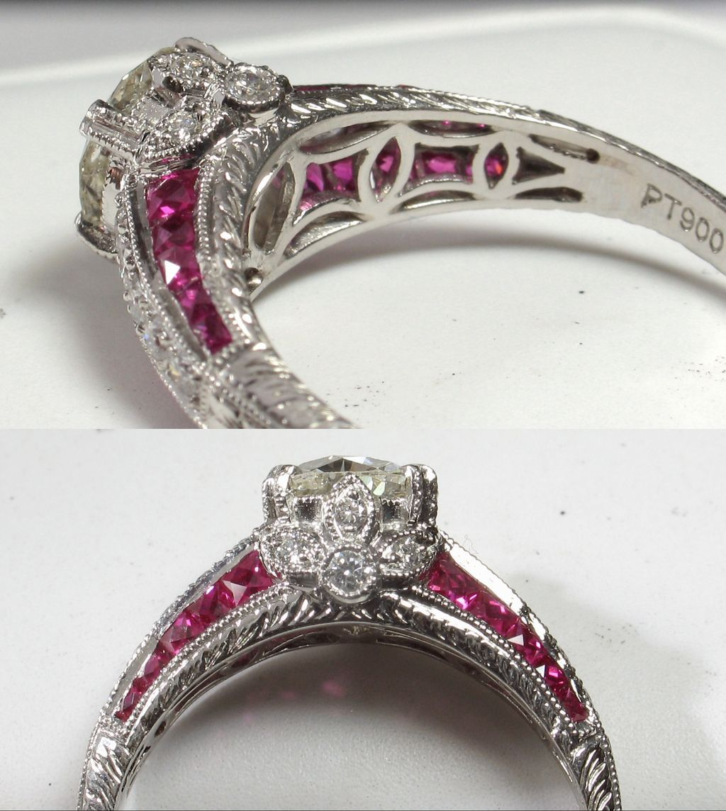 Glamorous old european cut diamond u ruby engagement ring from