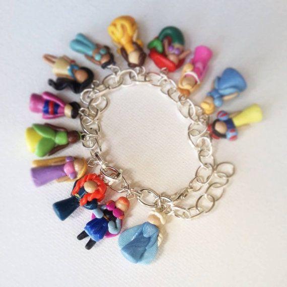 Disney Princess Inspired Polymer Clay Charm Bracelet (Now
