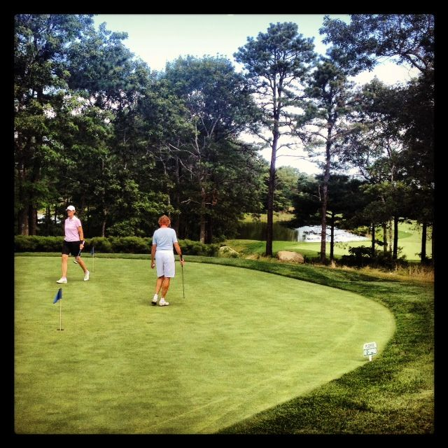 Golfers Putting Practice Before Their Round At Crosswindsgolfclub