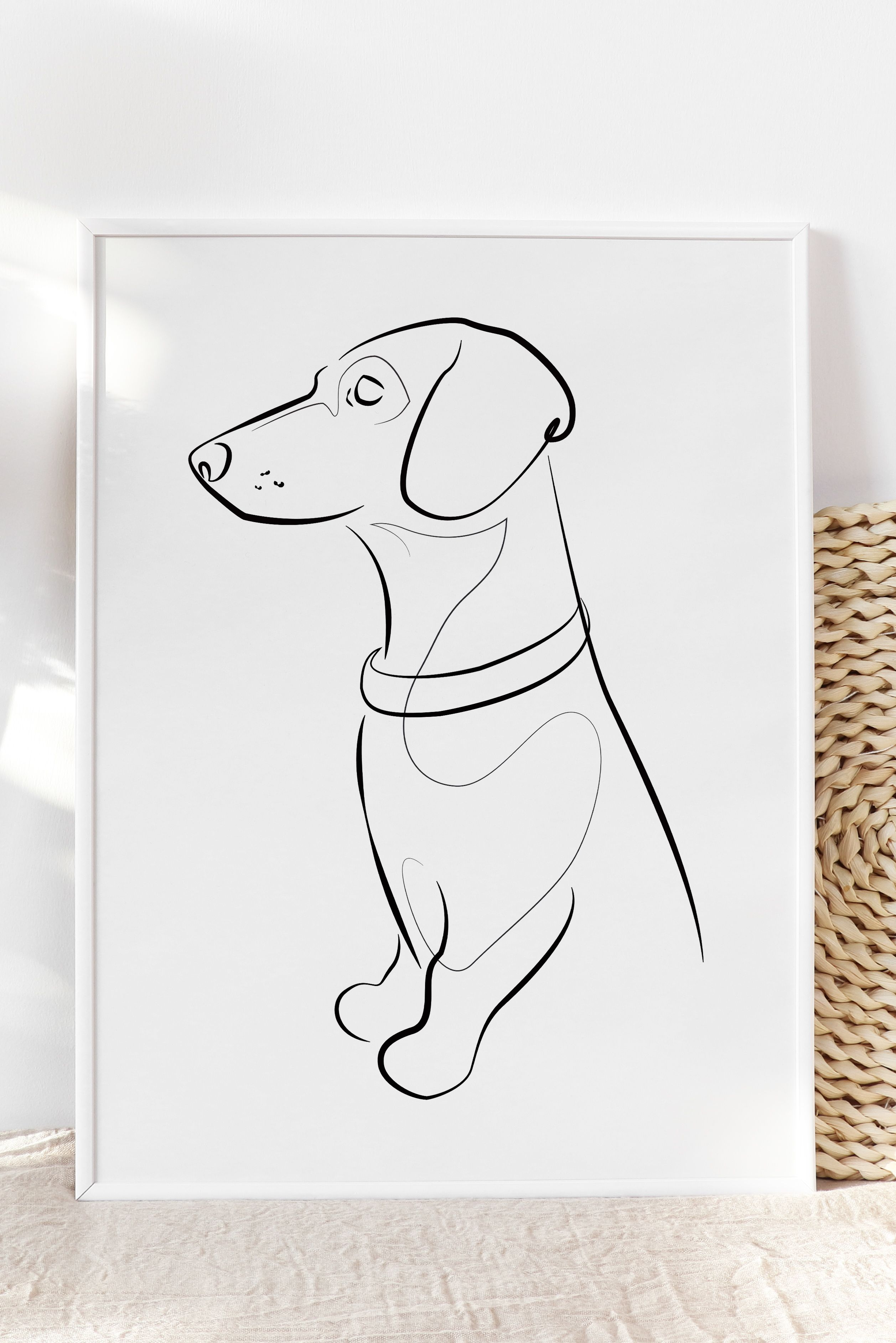 Dachshund One Line Drawing Dachshund Art Dachshund Giftdog Etsy In 2020 Dog Print Art Dachshund Art Line Drawing