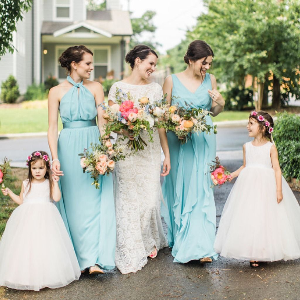 22000b3b139 Lovely Spring Bridesmaids In Halter And V Neck Tank Bridesmaid