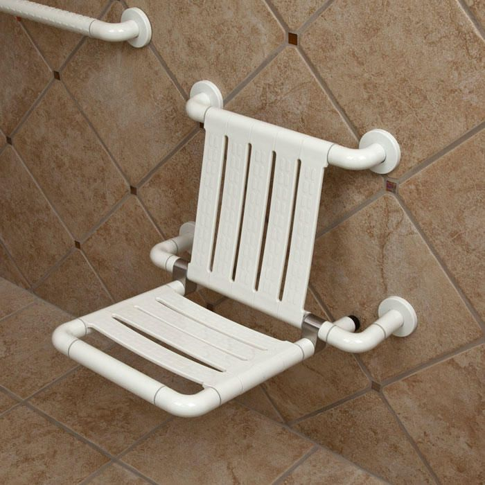 Marion Folding Shower Seat with Backrest - Off-White | Shower seat ...