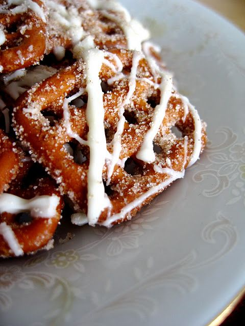 White Chocolate Cinnamon Pretzels -  Warning: Addictive!