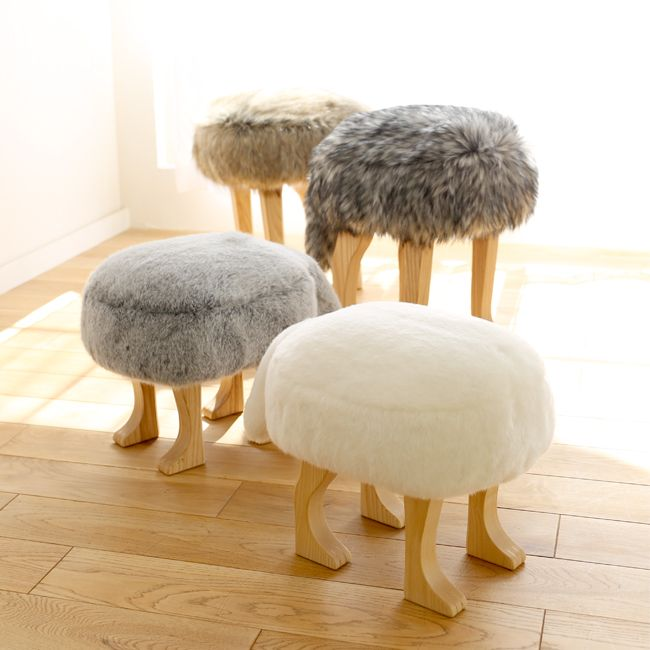 Made by master #wood craftsmen in #Japan using #natural #craftsmanship techniques, Takumi's #furniture shows off the inherent beauty of #timber. Making #creative, #beautiful, and #unique pieces from their #Hokkaido location since 1979. Fall in love with these adorable #fauxfur #stools, now availabe at our #BayArea #interior #design store, BaBoo.