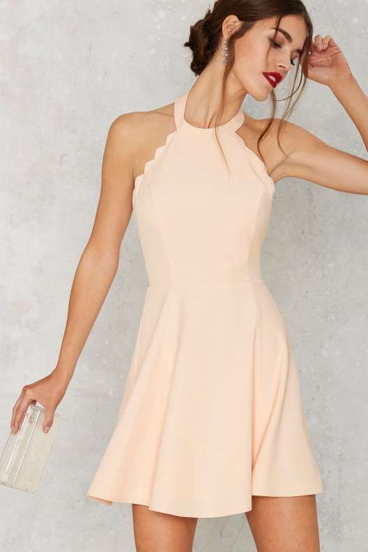 Full Scallop Flare Dress Peach Short Formal Dresses
