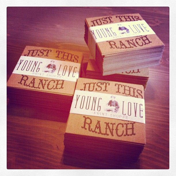 Just This Ranch stamped business cards sealed with the approval of the Young Love Print Shoppe #graphic #design #print #business #cards #ranch #stamp #rustic