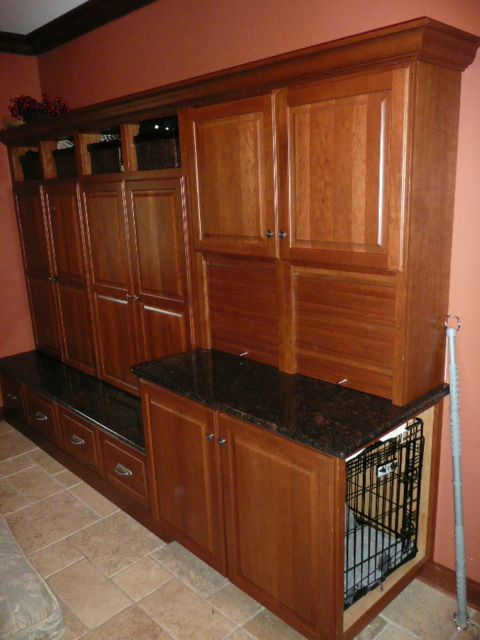 Mud Room Storage With Disguised Dog Crate Storage
