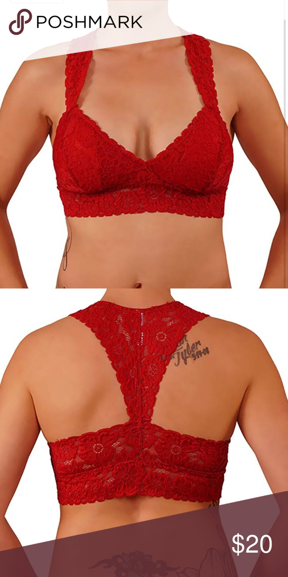 4bfae9d836845 Red floral lace Bralette racerback size s m Item Details  Beautiful Floral Lace  Bralette. Features RacerBack Finish and Removable Cups With Wide Straps for  ...