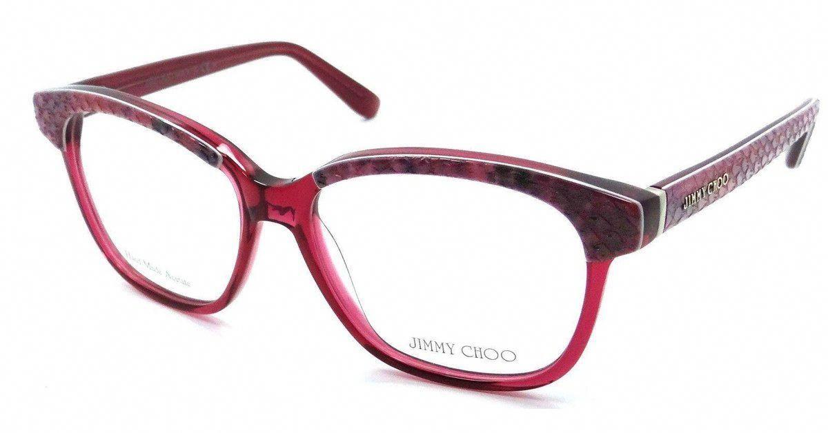 3a783d084dc0 Jimmy Choo Rx Eyeglasses Frames JC 97 8ZW 53-15-140 Plum Python Fuchsia  Italy  JimmyChoo