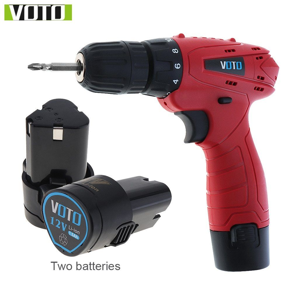 Voto 12v Dc Household Lithium Ion Battery Cordless Drill Driver Power Tools Electric Drill With Two Batteries Cordless Drill Electric Drill Drill