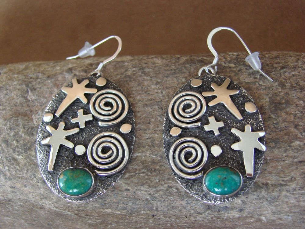 Native American Sterling Silver Turquoise Petroglyph Earrings by Alex Sanchez! #Unbranded