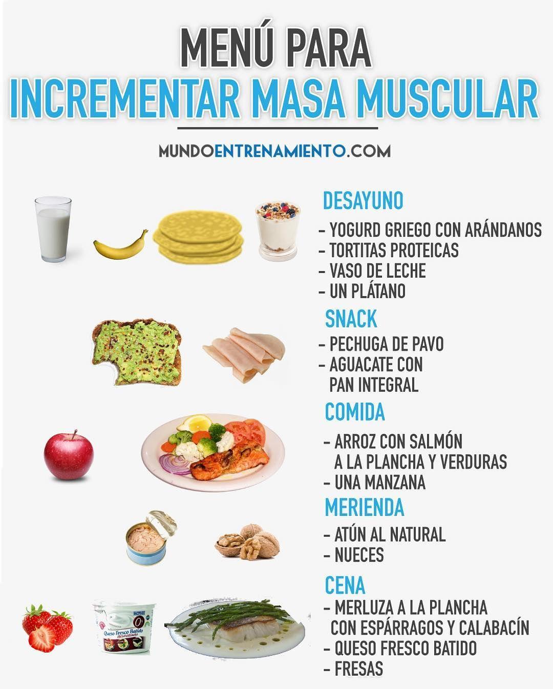 desayuno almuerzo merienda y cena para aumentar masa muscular