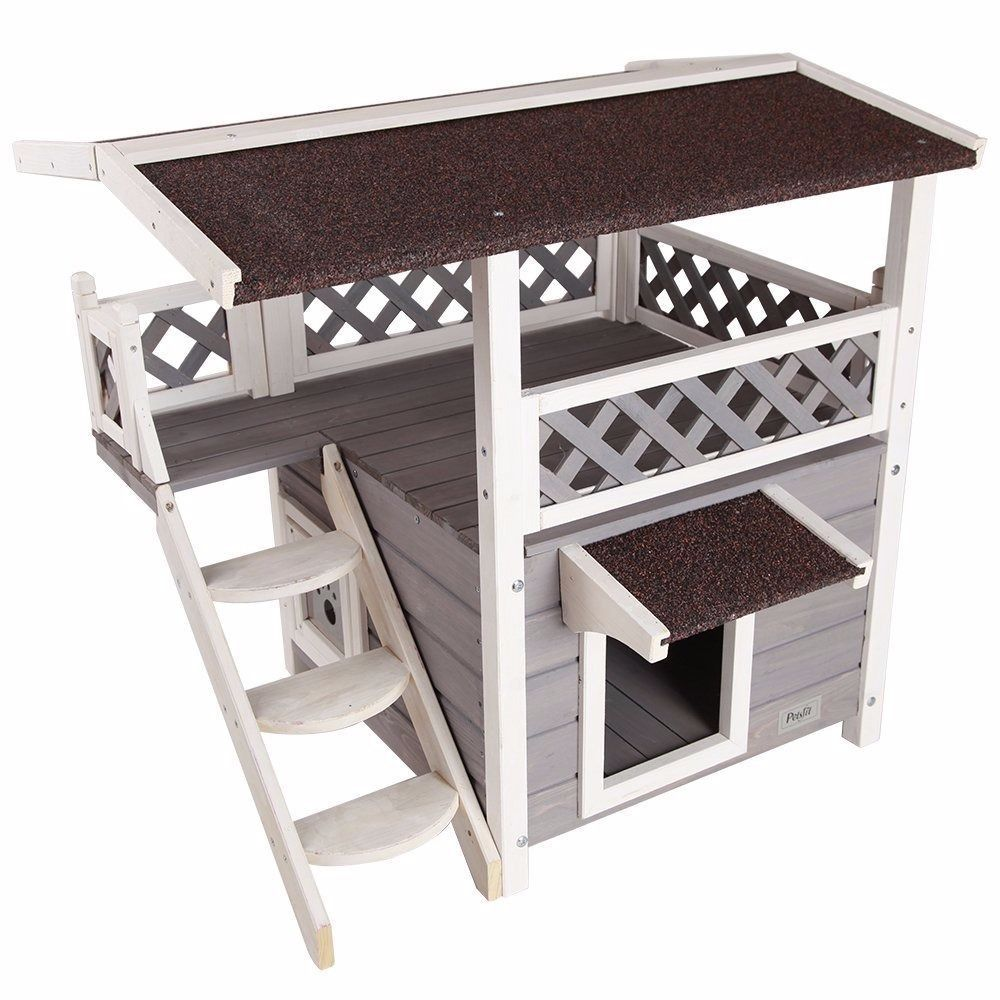 Cat Houses For Outdoor Feral Cats Backyard Shelter Condo Kitty Kennel Furniture