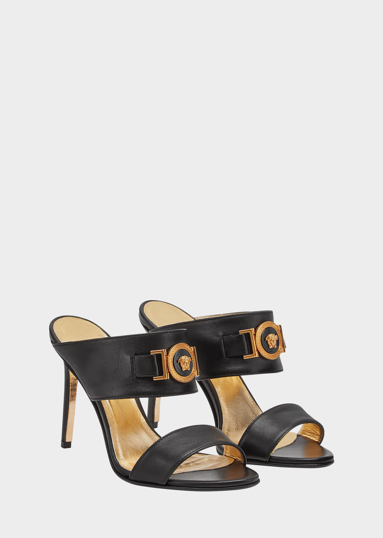 dc750a082 Versace Icon Leather Sandals for Women | US Online Store. Icon Leather  Sandals from Versace Women's Collection. Slide on, high heel leather  sandals crafted ...