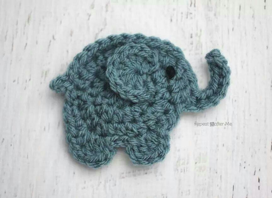Cute crochet elephant   Crochet   Pinterest   Apliques, Elefantes y ...