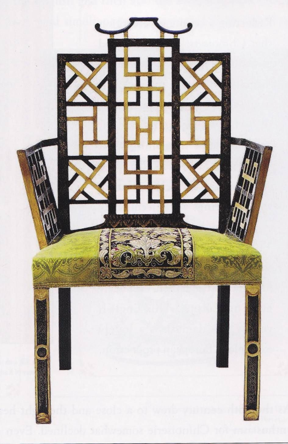 1754 Reupholstered Chinoiserie Chair From The Chinese Bedroom At Badminton  House. Beechwood Frame, Gilt And Japanned