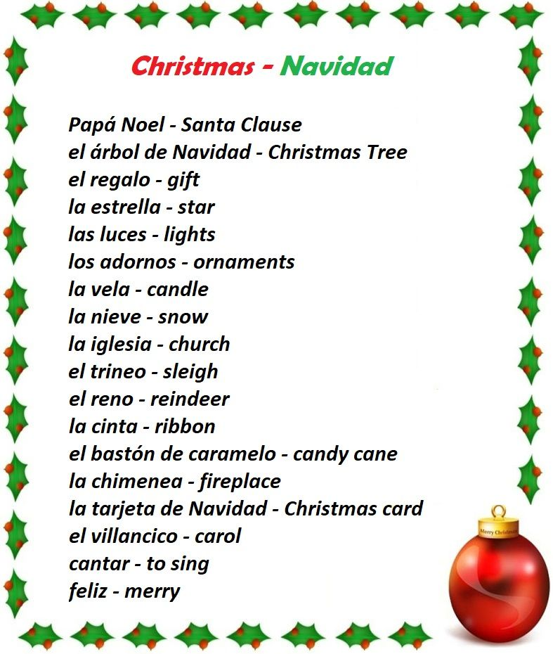 Christmas Spelling Words.Christmas Navidad Spanish Spelling Worksheet Crossword