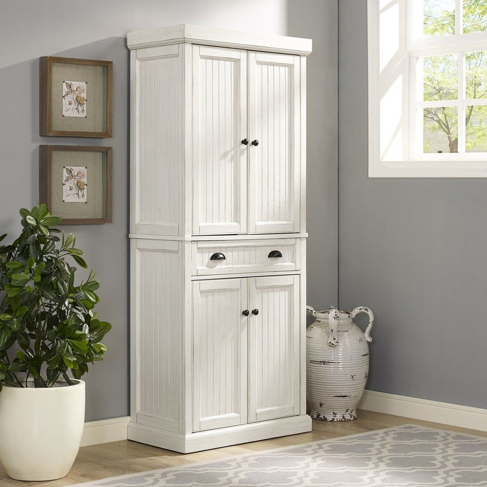 Best Seaside Kitchen Pantry In Distressed White Finish Crosley 640 x 480