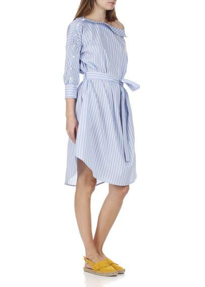 Robe chemise col bateau ceinturée en coton rayé Bleu by IMPERIAL ... 72cc528c57c