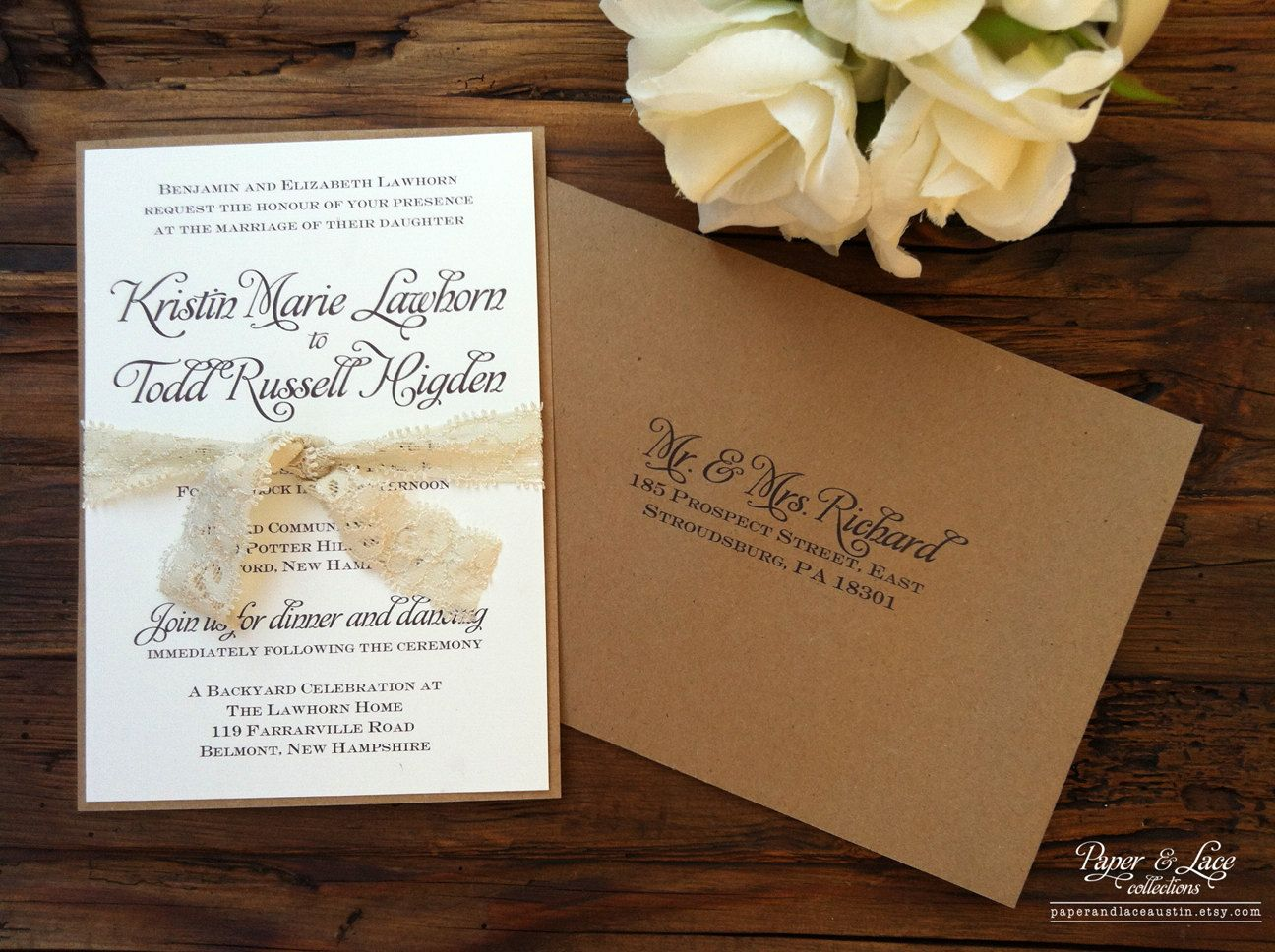 rustic lace wedding invitations | rustic wedding invitation kraft, Wedding invitations