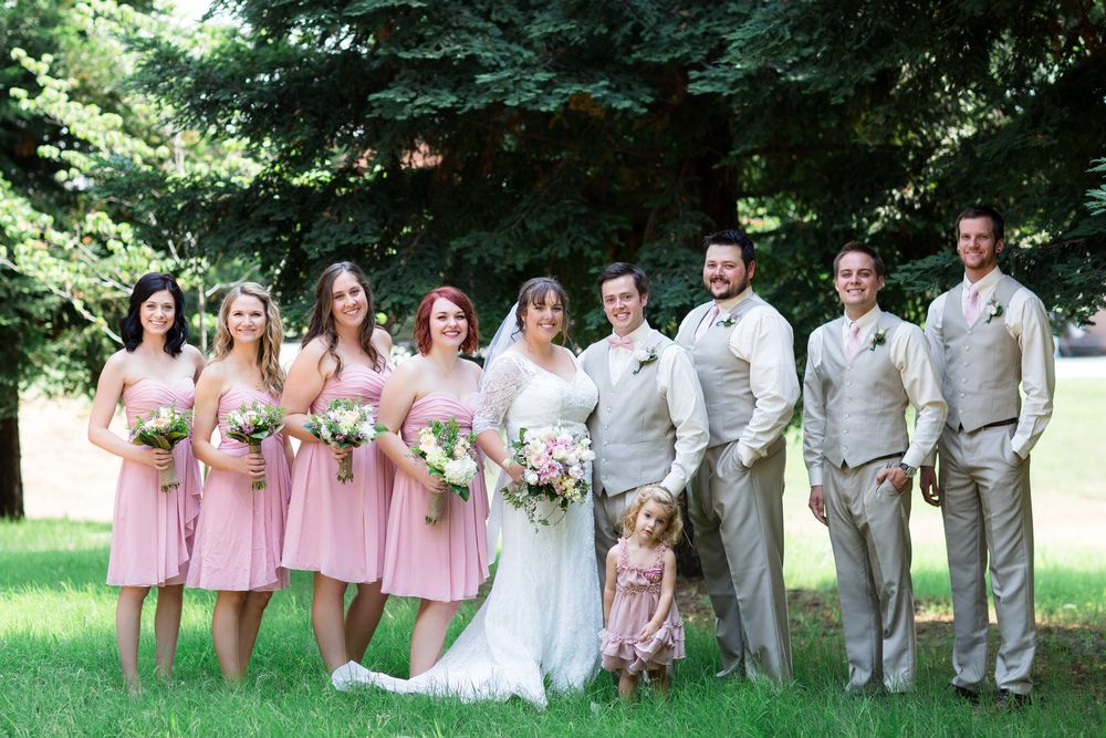 5a4a71b087d Bridal Party Light Pink Bridesmaids Dresses Tan Groomsmen Pants and Vests