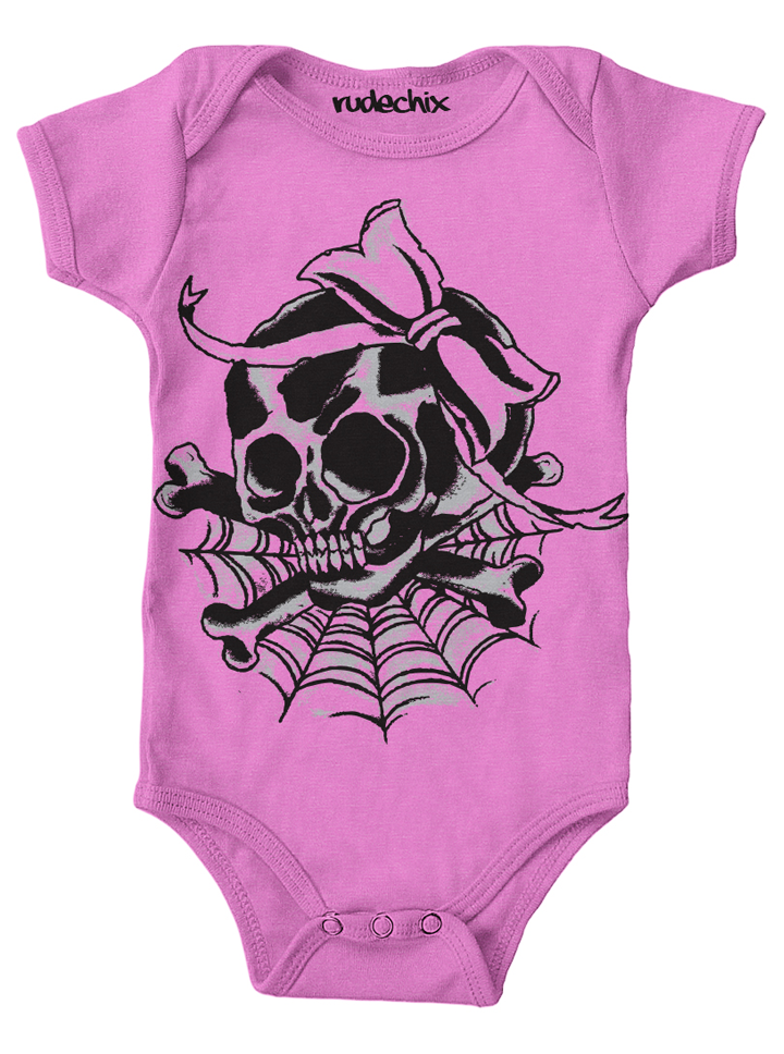 "Infant's ""Girly Skull"" Onesie by Rudechix (Light Pink)"