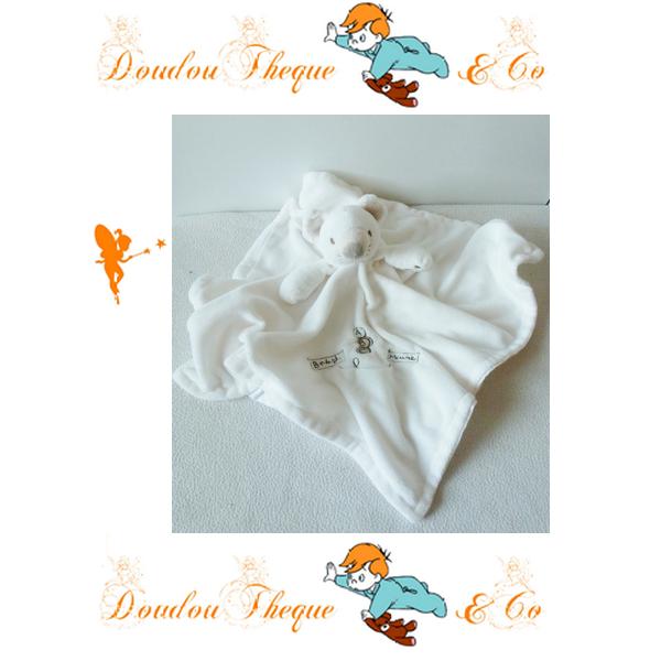 Doudou plat Souris Baby Mouse ABC blanc 47 cm