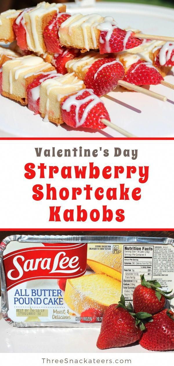 Strawberry Shortcake Kabobs are a perfect DIY treat for Valentine's Day. Fun and simple to make, all you need are strawberries, cake, icing and skewers. Click through for the easy recipe and lots of ideas for variations and substitutions (like brownies!)