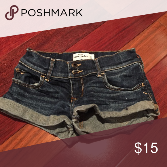 shorts dark jean shorts, double button, and folds up abercrombie kids Shorts Jean Shorts