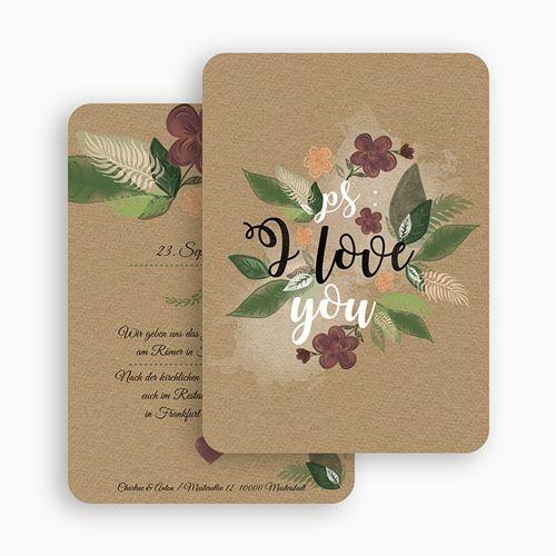 Hochzeitseinladungen modern flower vintage 51412 for Pinterest hochzeitseinladung