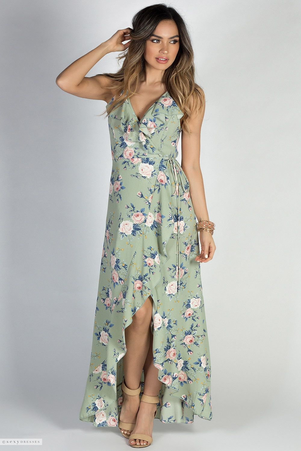 627c5209383d Beautiful Floral Print Sage Green Strappy Open Back High Low Wrap Dress