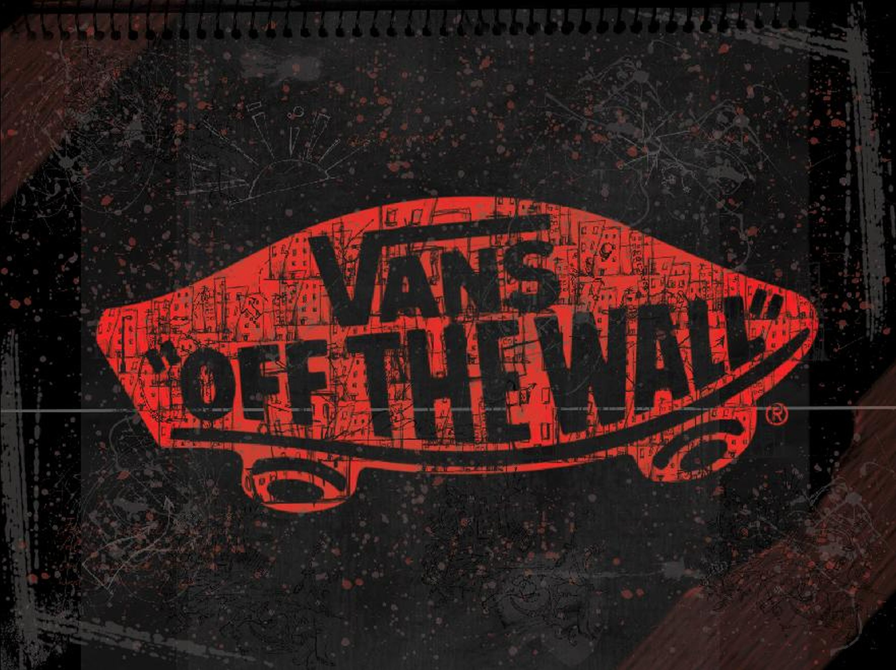 Red Vans Off The Wall Skateboarding Logo Dark Background