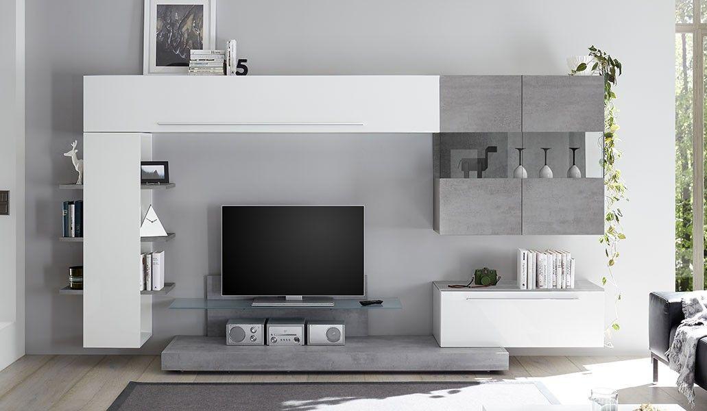 Soggiorno moderno con parete attrezzata bianco lucido e ...