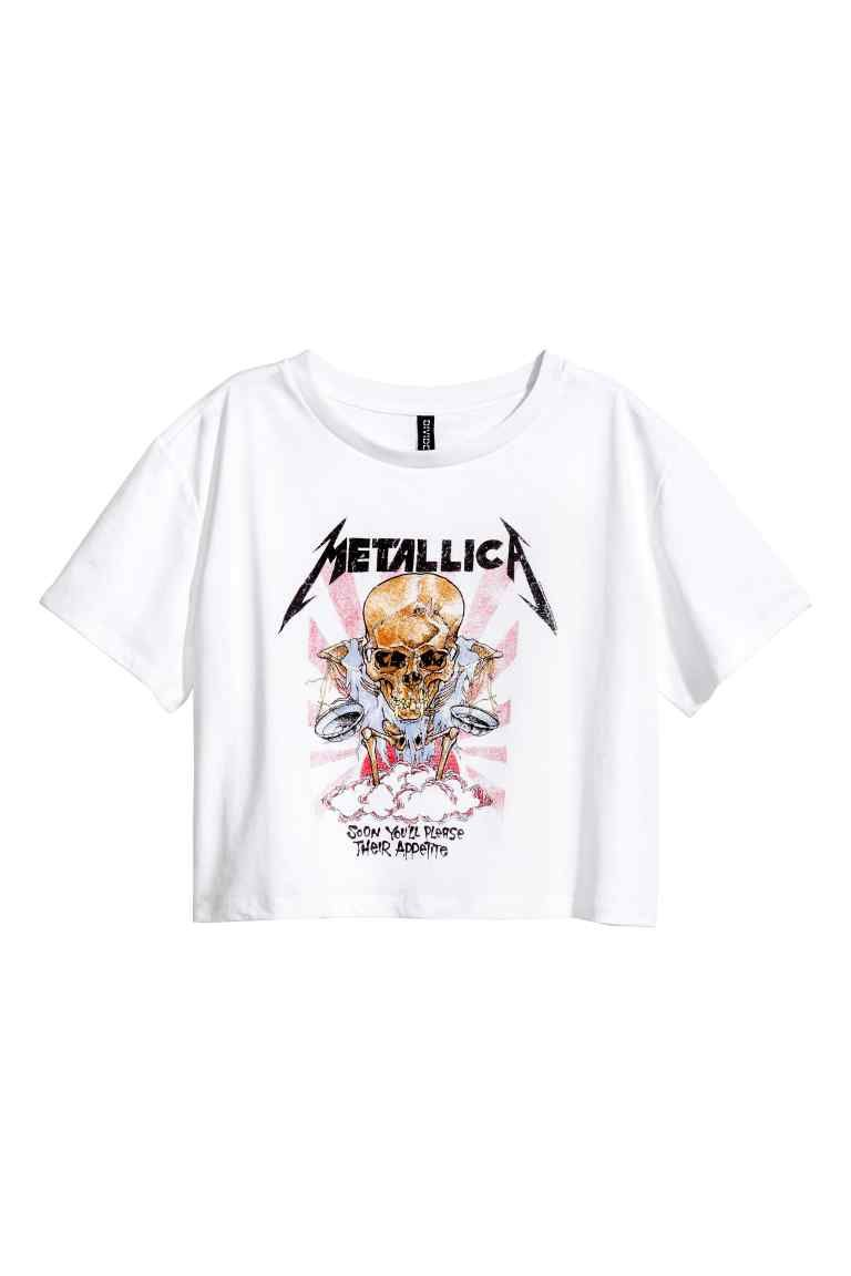 a02f72f44bf0c Crop top - Wit Metallica - DAMES